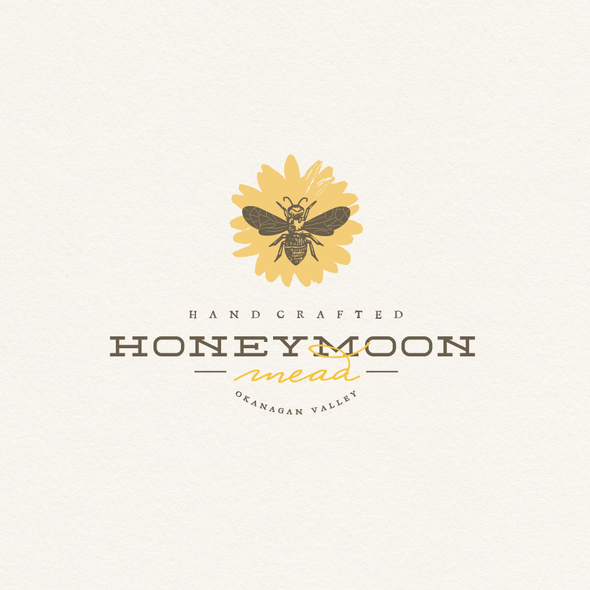 Yellow and brown design with the title '***Meadery Logo - Honeybees, Wine, Bees, Beekeeping, Family Owned***'