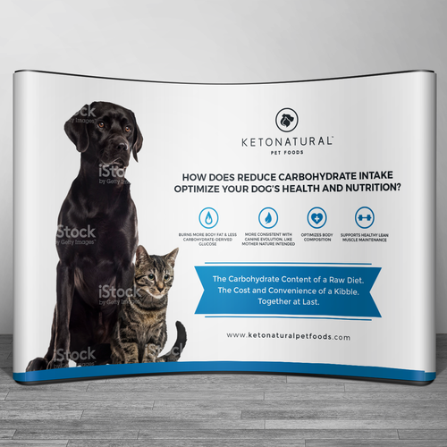 Backdrop design with the title 'Backdrop wall design for KetoNatural Pet Food'