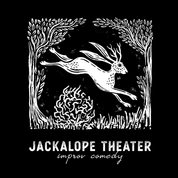 Logo illustration with the title 'Linocut Jackalope Illustration/ Logo'
