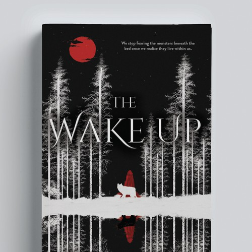 Elegant book cover with the title 'The Wake Up,  a surreal cover for a dark fantasy novel'