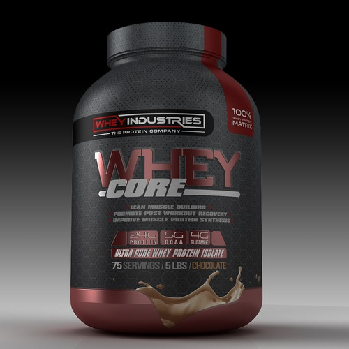 Sports label with the title 'whey protein'