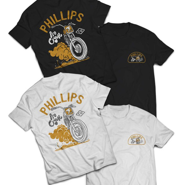 Motorcycle club design with the title 'Phillips ProCycle Tees Design'