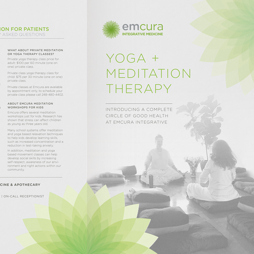 Meditation design with the title 'Yoga and meditation flyer'
