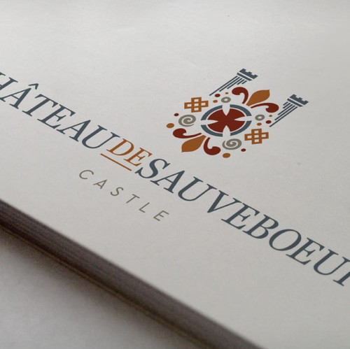 Cultural design with the title 'CHATEAU DE SAUVEBOEUF'
