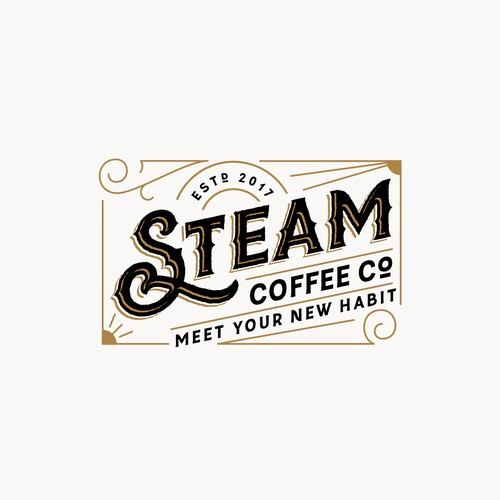 Art Deco logo with the title 'Logo for Steam Coffee Co'