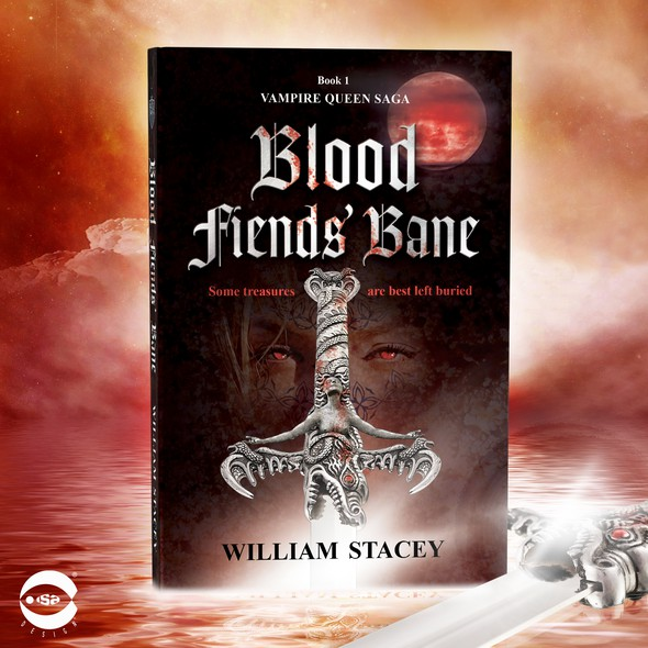"""Viking book cover with the title 'Book cover for """"Blood Fiends' Bane"""" by William Stacey'"""
