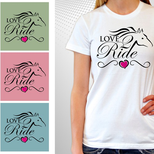 Equestrian design with the title 'T-Shirt for women and girls who love horseback riding'