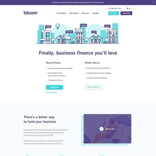 Bloom design with the title 'Webdesign for Bloom'