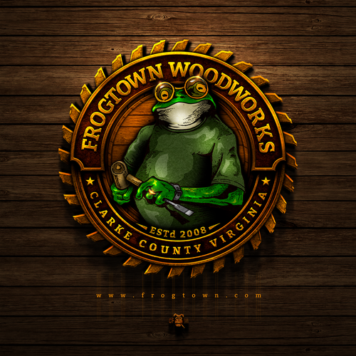 Frog design with the title 'Frogtown Woodworks'