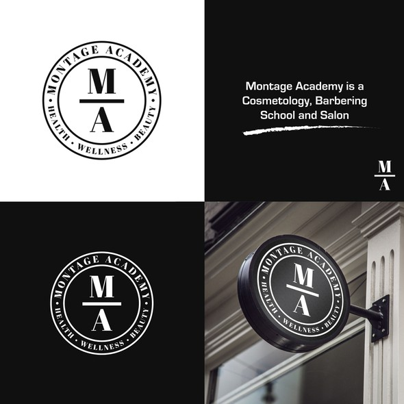 Cosmetology logo with the title 'Montage Academy'