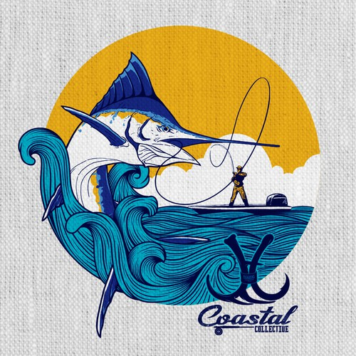 Fishing t-shirt with the title 'An illustration tshirt design for Coastal Collective.'