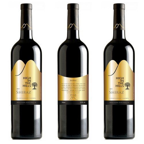 High-end label with the title 'High in the Hills wines label '