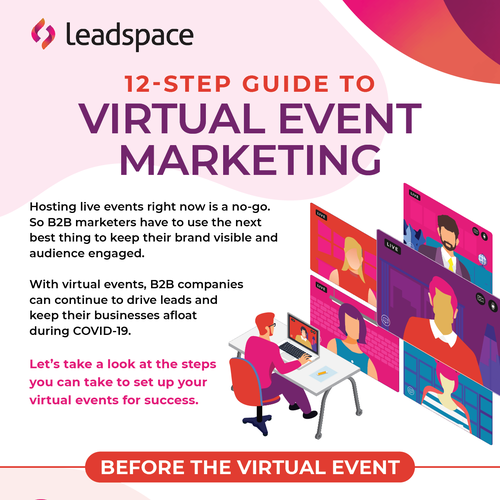 Guide design with the title 'Leadspace Virtual Event Marketing infographic'