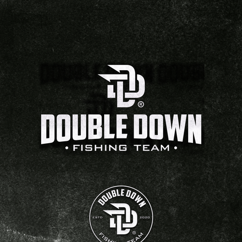 Fishing hook design with the title 'Double Down Fishing Logo Concept.'