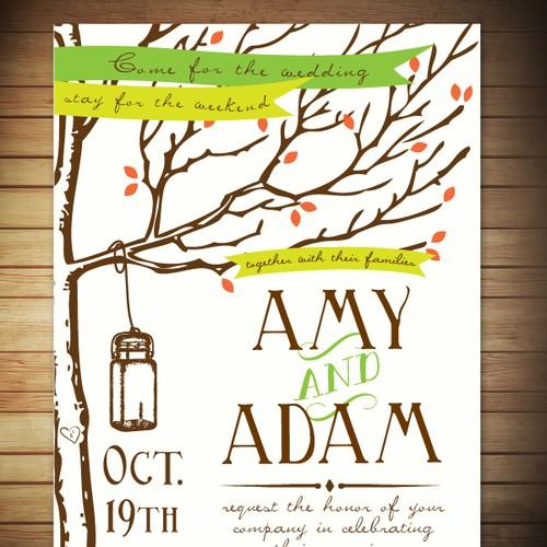 Autumn design with the title 'Rustic Wedding Invitation'