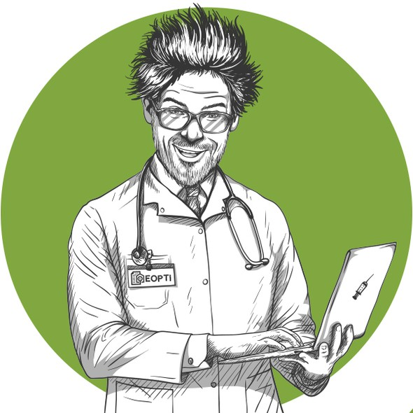 Doctor illustration with the title 'A series of illustrations - Crazy Professor'