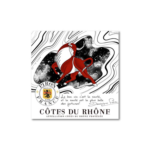 Wine label artwork with the title 'Wine label illustration'