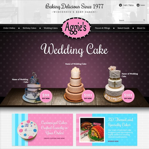 Unique website with the title 'Homepage of Aggie's Bakery and Cake Shop'