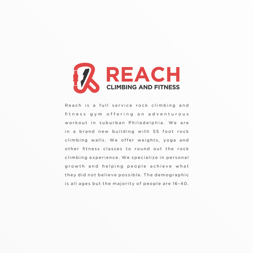 Adventure brand with the title 'Reach Climbing and Fitness'