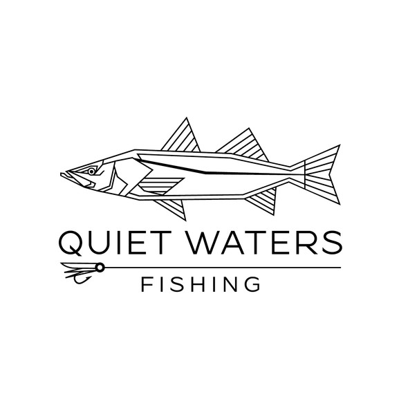 Fly fishing logo with the title 'Quiet Waters fishing Logo'