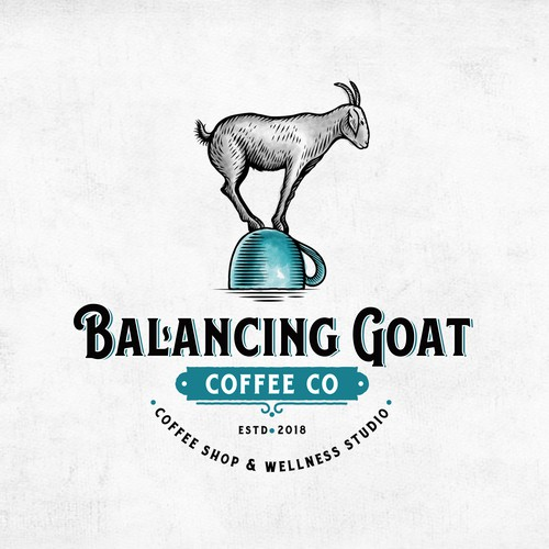 Goat milk logo with the title 'Balancing Goat Coffee Co.'
