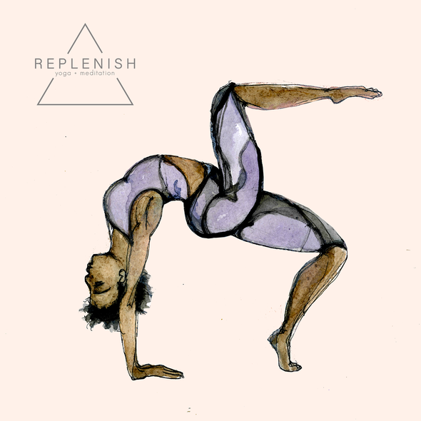 Yoga illustration with the title 'Illustration for a Contest.'