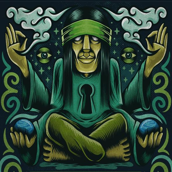 Meditation artwork with the title 'klipwerx fliptop design'