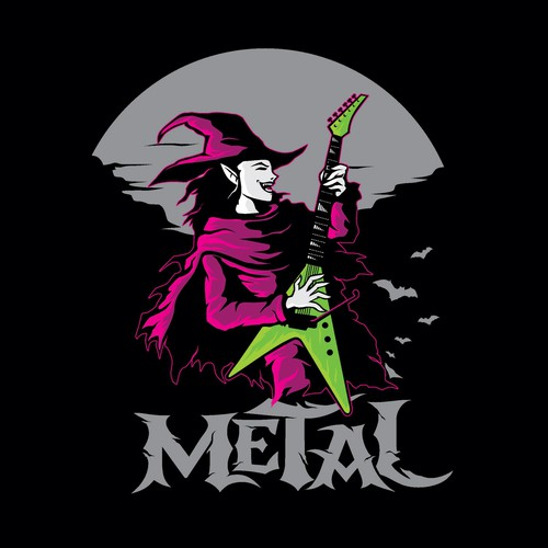 Witch design with the title 'metal guitar witch'
