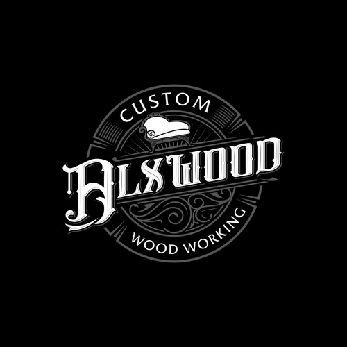 Custom brand with the title 'Wood Working Vintage Logo'