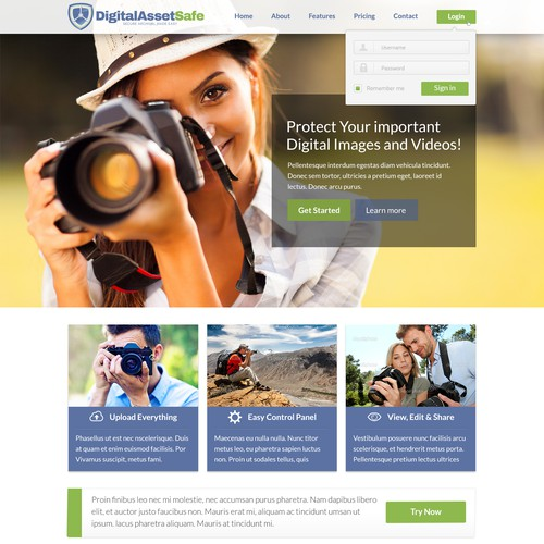 Homepage design with the title 'DigitalAssetSafe web site re-design'