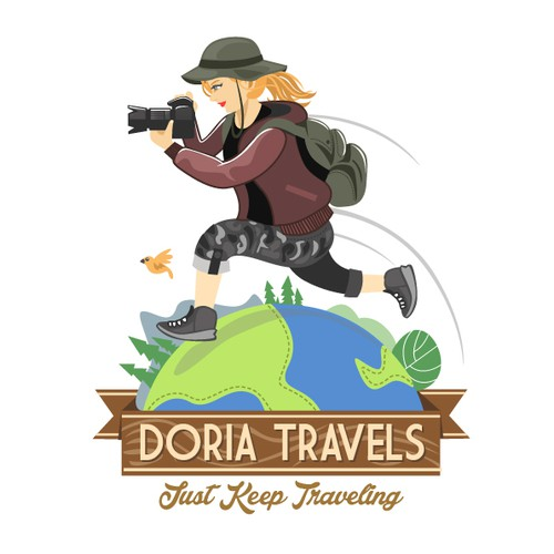 Tour design with the title 'Create a logo for a traver blogger and photographer'
