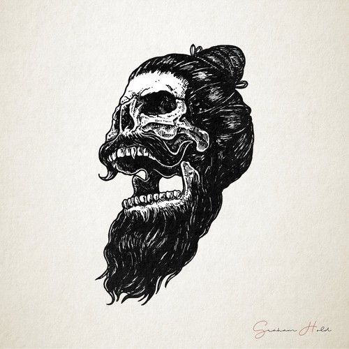 Metal illustration with the title 'Skull Beard Illustration'