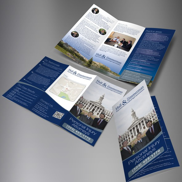 Denver design with the title 'Hull & Zimmerman trifold brochure'