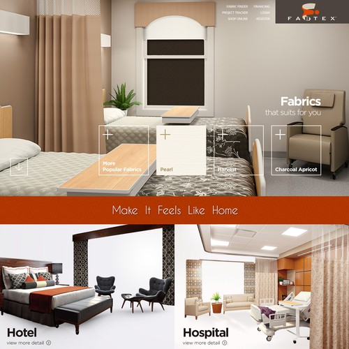 Bedding design with the title 'Web Design for the manufacturer of hospitality (hotel) and healthcare industries'