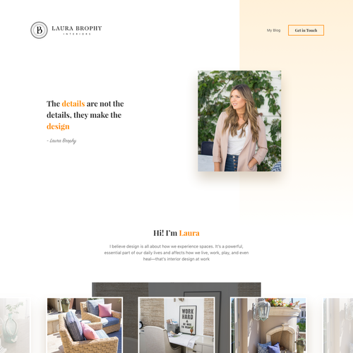 UX/UI website with the title 'Stylish website for Interior Designer'