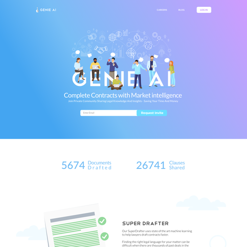 Landing page website with the title 'Landing page design: Intelligent Legal Document Community'