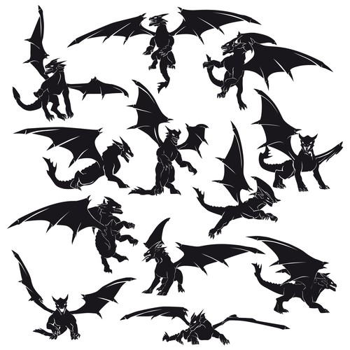 Silhouette design with the title 'Dragon silhouettes in vector format'