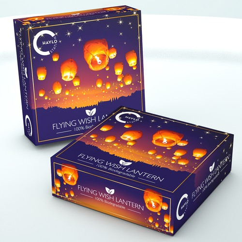 Playful packaging with the title 'Luxury package design concept for flying lantern'