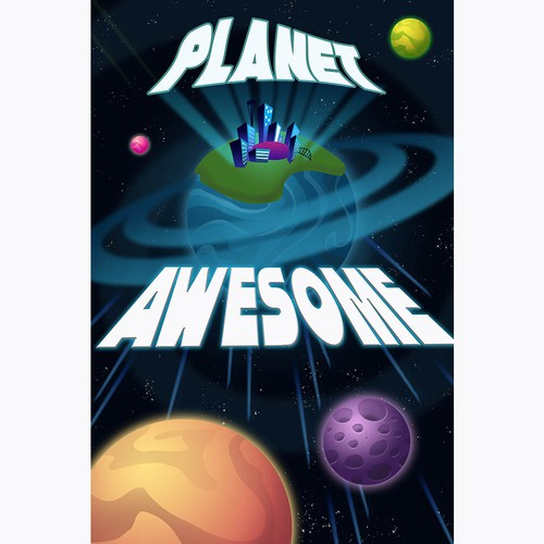 Planet artwork with the title 'Planet Awesome poster'