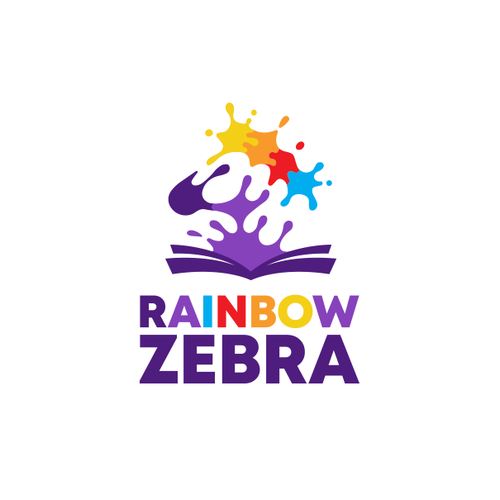 Rainbow logo with the title 'Creative logo for Rainbow Zebra'