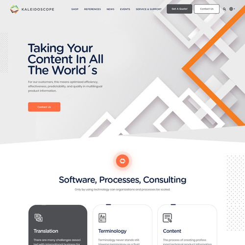 Elegant website with the title 'Looking for a fresh and exciting website redesign for our three companies'