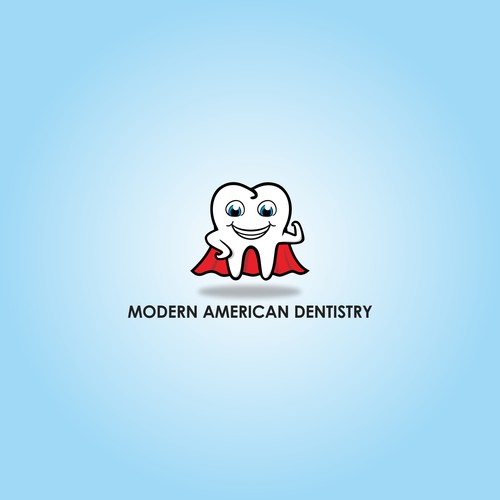 Superman design with the title 'Modern American Dentistry Logo'