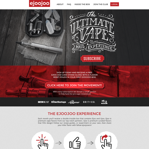 Lettering design with the title 'Homepage design for a Subscription Box business'