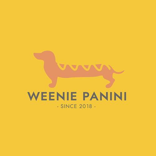 Hot dog design with the title 'Weenie Panini Dachshund Logo'