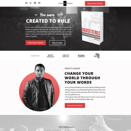 Single page design with the title 'Landing Page of Book for Leon DuPreez'