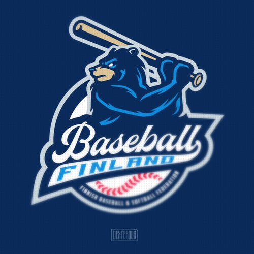 Bear logo with the title 'Baseball Finland'