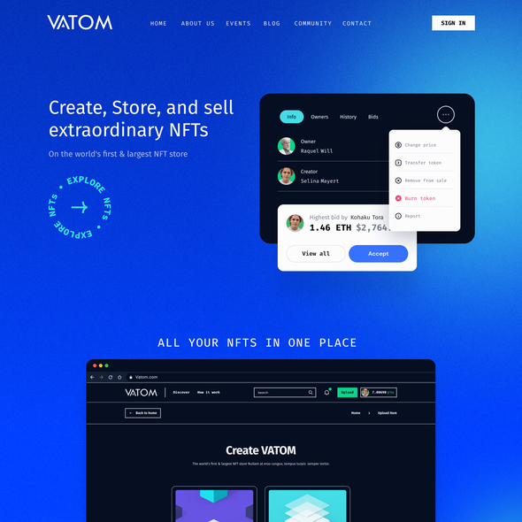 Store design with the title 'Crypto NFT Landing page / Homepage'
