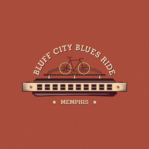 Moody design with the title 'Bluff City Blues Ride'