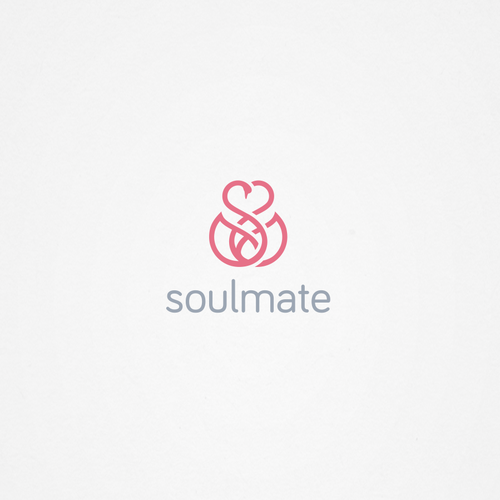 Pink and blue design with the title 'Design a STUNNING LOGO for a popular dating site.'