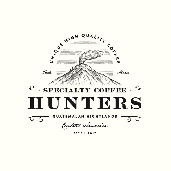 Volcano design with the title 'Specialty Coffee Hunters'